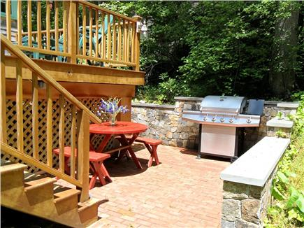 Woods Hole, Gansett Woods area Woods Hole vacation rental - New Gas Grill on the Brick Patio below the deck