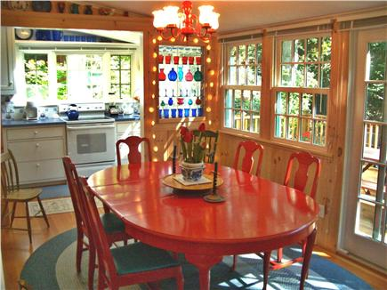 Woods Hole, Gansett Woods area Woods Hole vacation rental - The Sunporch-Dining Area has Sliding French Doors to the Deck