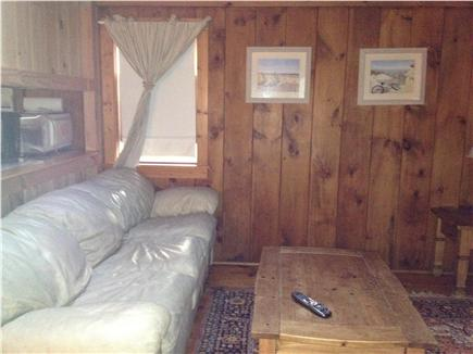 Dennis Port Cape Cod vacation rental - Rustic pine living room with queen pullout sofa