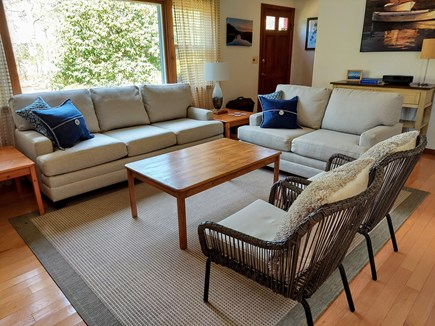 South Chatham Cape Cod vacation rental - New Living Room Furniture, AC, Overhead Fan and Cathedral Ceiling