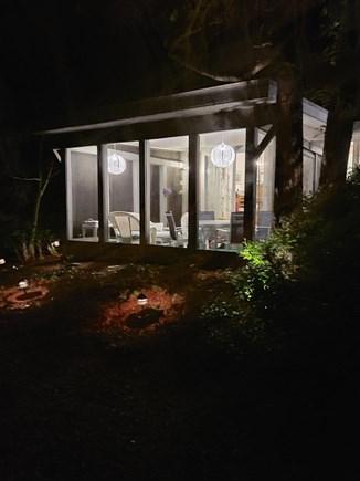 South Chatham Cape Cod vacation rental - Screened Porch at Night