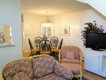 Ocean Edge, Brewster Cape Cod vacation rental - Open floor plan, showing living room towards dining area