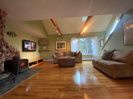 Truro Cape Cod vacation rental - Comfy Living Room w/ Skylights & Famous Malicoat Fireplace, Large