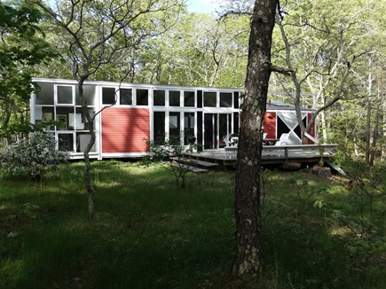 South Truro-Wellfleet line Cape Cod vacation rental - View of Cottage from open field to South