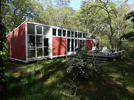 South Truro-Wellfleet line Cape Cod vacation rental - Cottage and Deck, with Kitchen on left