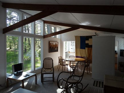 South Truro-Wellfleet line Cape Cod vacation rental - View from Living Room with Kitchen beyond