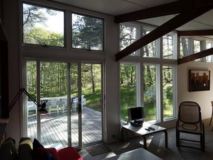 South Truro-Wellfleet line Cape Cod vacation rental - Living Room with Deck Outside
