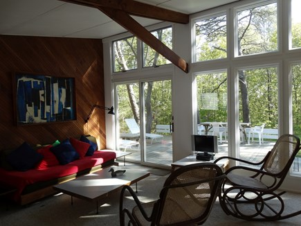 South Truro-Wellfleet line Cape Cod vacation rental - Living Room and Deck looking SW