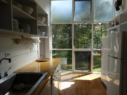South Truro-Wellfleet line Cape Cod vacation rental - Kitchen with view to South