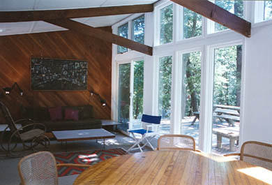 South Truro-Wellfleet line Cape Cod vacation rental - Living Room and Deck