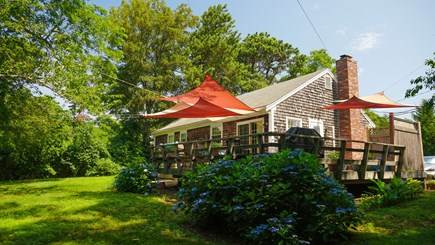 Brewster Cape Cod vacation rental - Private, quiet Backyard, with large secluded wrap around deck