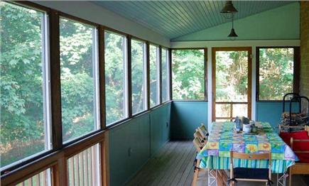 Wellfleet Village Cape Cod vacation rental - Porch dining for eight