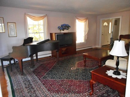 West Dennis Cape Cod vacation rental - Living Room with baby grand piano and flat screen HD TV.