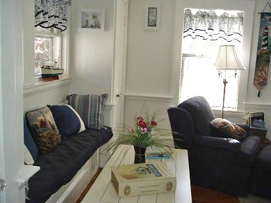 West Yarmouth Cape Cod vacation rental - Living room window seat/cozy reading corner