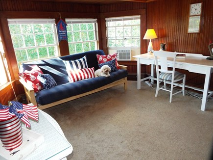 Orleans Cape Cod vacation rental - Cozy BR/Office. Double Futon. Bureau. Closets. View to side lawn.