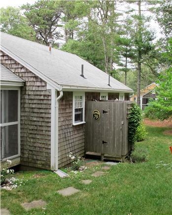 Chatham Cape Cod vacation rental - Back Yard with outdoor hot water enclosed shower