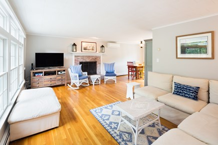 Wellfleet Cape Cod vacation rental - Living room with fireplace