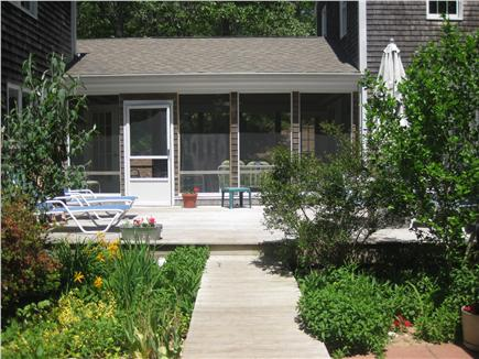 Wellfleet Cape Cod vacation rental - Walkway from driveway leading to deck and back entrances.