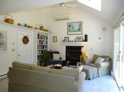 Wellfleet Cape Cod vacation rental - Relax in the great room w/ sliding doors to deck, skylight, fan