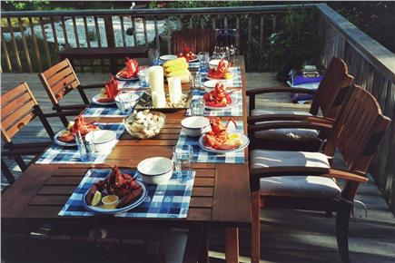 Wellfleet Cape Cod vacation rental - Lobster Dinner on the Deck