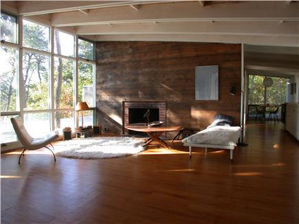 Wellfleet Cape Cod vacation rental - Open living room, fireplace