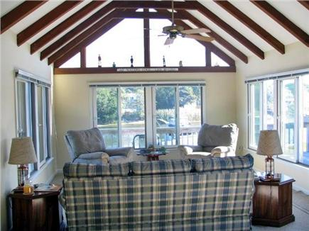 Falmouth Cape Cod vacation rental - Family room with cathedral Ceiling overlooking the water