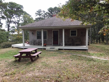 Eastham Cape Cod vacation rental - Front view of cottage — Great Pond to the left