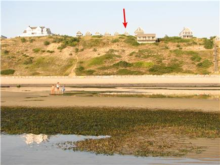 Truro - Corn Hill Cape Cod vacation rental - View of Corn Hill beach/bluff/cottages from extreme low tide