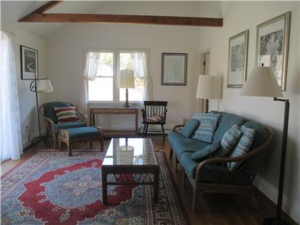 Wellfleet Cape Cod vacation rental - Vaulted Living Room with Ceiling Fan