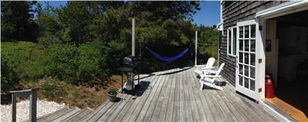 Truro Cape Cod vacation rental - Back deck has hammock; outdoor shower; picnic table