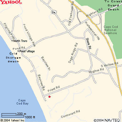Truro Cape Cod vacation rental - Map shows location nr Bay Beach; the ocean beach is 5 min. drive