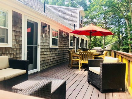 North Eastham Cape Cod vacation rental - Gorgeous new table and seating area on the back deck!