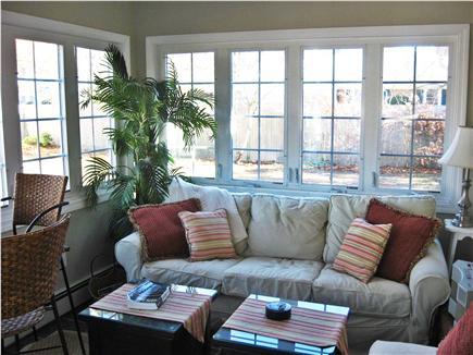West Dennis Cape Cod vacation rental - Sun room with cathedral ceiling overlooking fenced-in yard