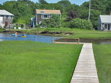 West Dennis Cape Cod vacation rental - View of Swan River, the boardwalk and fishing dock from the porch