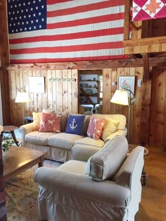 East Sandwich Cape Cod vacation rental - Great Room flag and seating area