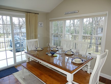 Popponesset Beach Cape Cod vacation rental - Dining area adjacent to kitchen, slider to deck