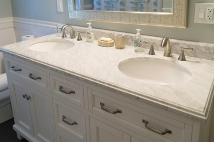East Orleans Cape Cod vacation rental - Upstairs Family Bath with Double Sink and Tub Shower