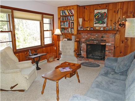 Wellfleet Cape Cod vacation rental - Living room with fireplace and queen size sofa bed
