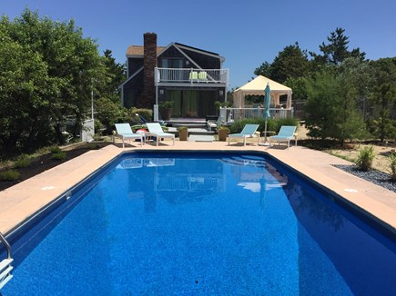 North Eastham Cape Cod vacation rental - Pool area looking back at house