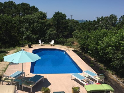 North Eastham Cape Cod vacation rental - Private swimming pool(showing property abuts beach in background)