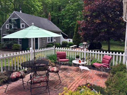 Yarmouthport historic 6A Cape Cod vacation rental - Patio off of farmers porch & kitchen