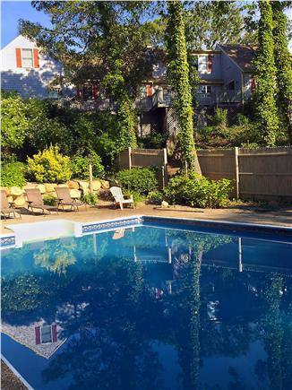 Brewster Cape Cod vacation rental - Upper level patio for outdoor dining overlooks huge 20'x40' pool