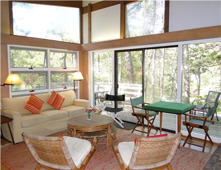 Wellfleet Cape Cod vacation rental - Living room with sliders to deck