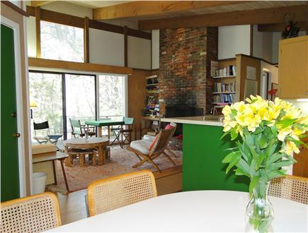 Wellfleet Cape Cod vacation rental - View from dining room of living room, fireplace
