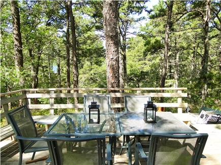 Wellfleet Cape Cod vacation rental - Outdoor eating area, water view, sunsets over pond