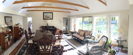 Dennis, Scargo Lake Cape Cod vacation rental - Dining room with skylights and sliding doors to patio