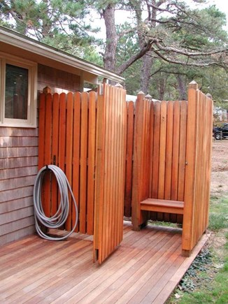 Wellfleet Cape Cod vacation rental - Outdoor Shower with changing area- hot and cold water