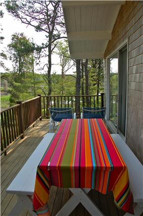 Wellfleet Cape Cod vacation rental - Front deck, looking out on marsh, picnic table, lounging chairs