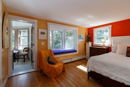 Truro Cape Cod vacation rental - Master bedroom with window seat and private bath.