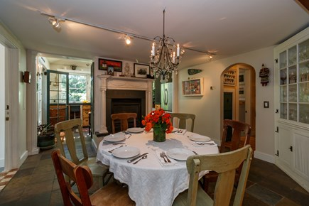 Truro Cape Cod vacation rental - The dining table has a leaf and can seat up to 10 easily.
